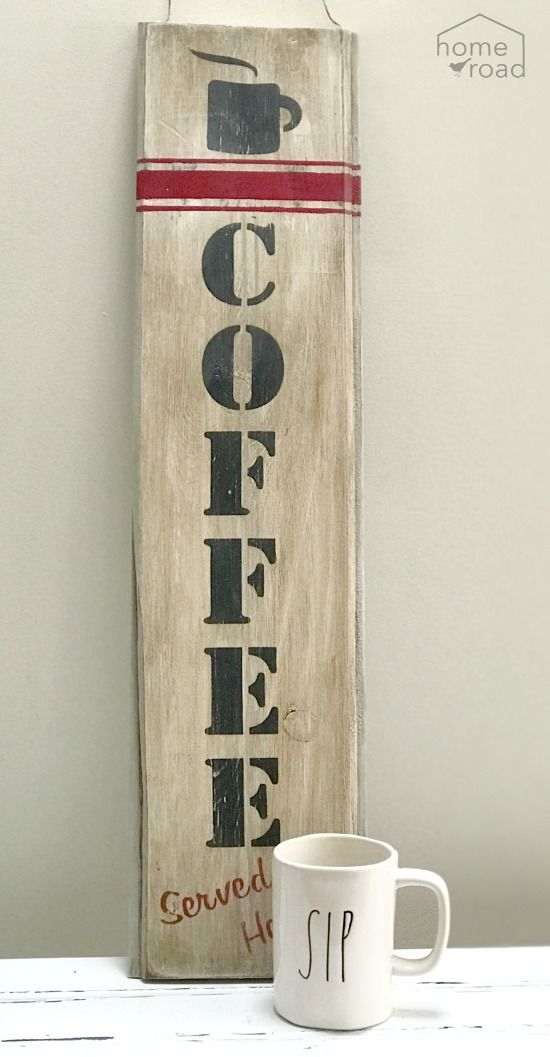 Rustic And Distressed Large Coffee Sign Coffee Signs Diy Coffee Signs Coffee Bar Signs