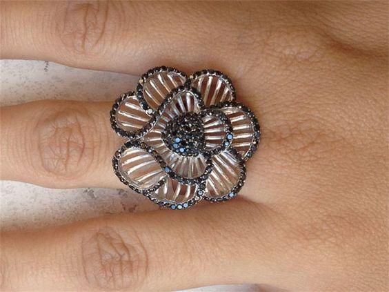 Sterling Black Crystal Ring