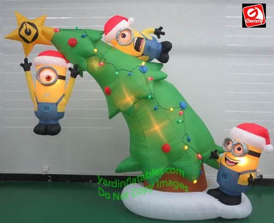 Wondrous Gemmy Airblown Inflatable 1039 Minions Decorating A Christmas Tree Easy Diy Christmas Decorations Tissureus