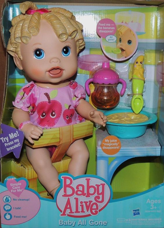 Baby Alive Doll Baby All Gone Interactive Juice Bottle Food Banana Spoon Blonde Baby Alive Baby Alive Dolls Baby Doll Nursery