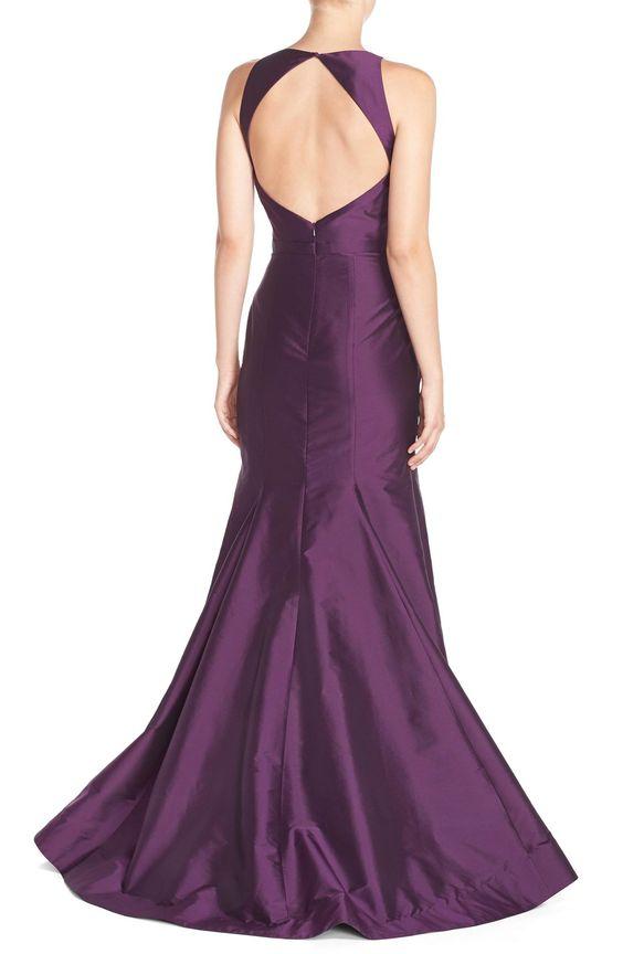 Monique LhuillierBridesmaids Back CutoutTaffeta Mermaid Gown
