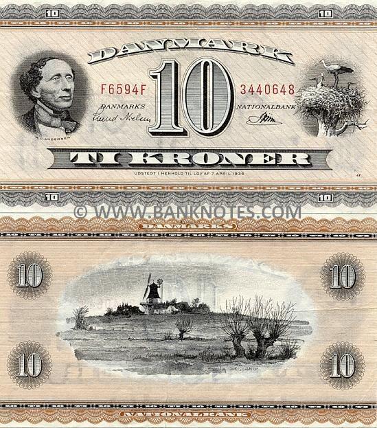 H.C.Andersen. Danmark 10 kroner. 1950-1974