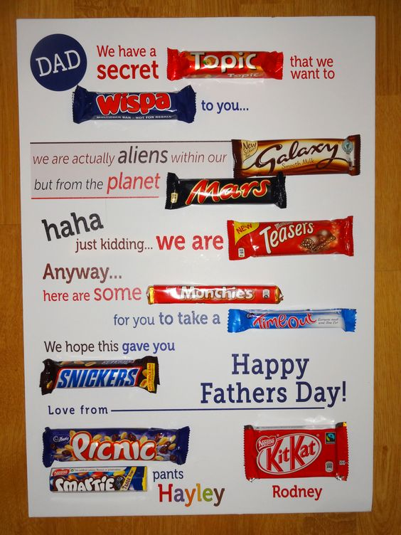 Typographic chocolate bar letter  Fathers Day gift  Things I
