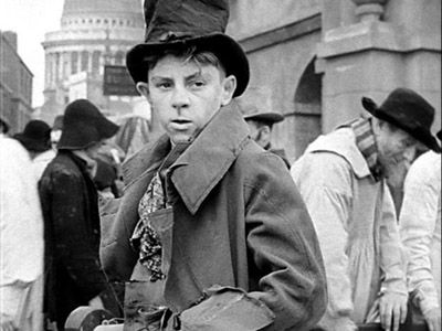 Anthony Newley as the Artful Dodger in David Lean's Oliver Twist (1948).