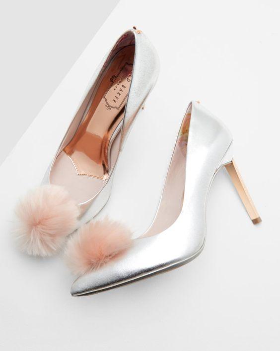 Pom-pom court heels - Silver Colour | Footwear | Ted Baker UK