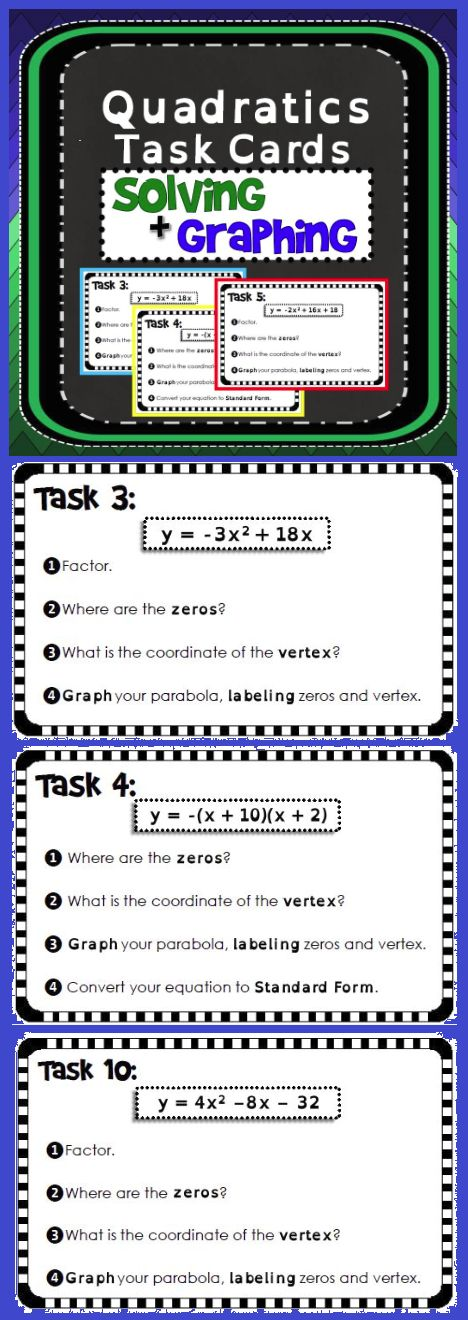 Students solve and graph quadratic equations in this task card activity. Each of…