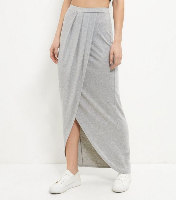 Grey Wrap Front Maxi Skirt  | New Look -------- 19.99€