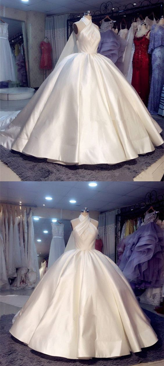 Vintage 1950s Style Satin Ball Gowns Wedding Dresses Halter Top Ball Gowns Wedding Halter Wedding Dress Ball Gown Wedding Dress