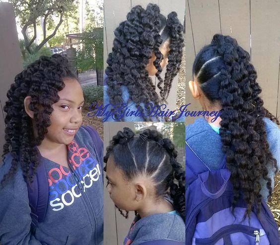 FroHawk ♥ 5 ponytails, 3 strand braidout on each pony