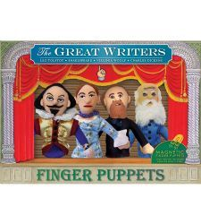 Great Writers Finger Puppet Set. Shakespeare, Virginia Woolf, Dickens and Tolstoy. They're magnetic, so when you're done, you can stick them to the fridge! .