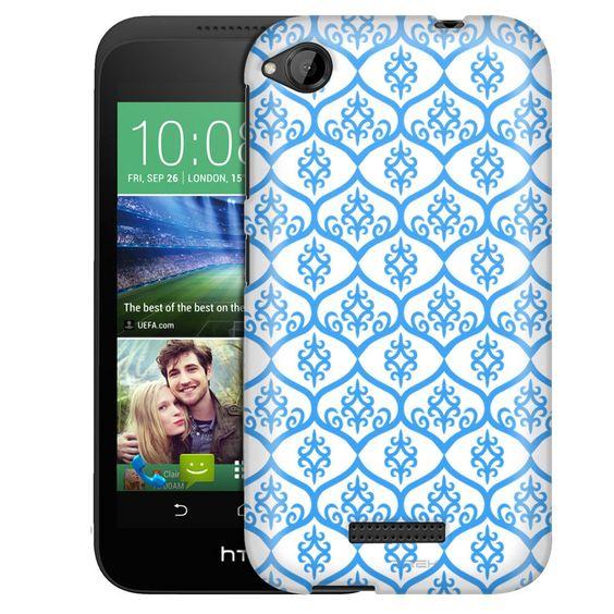 HTC Desire 320 Victorian Tileable Blue on White Slim Case