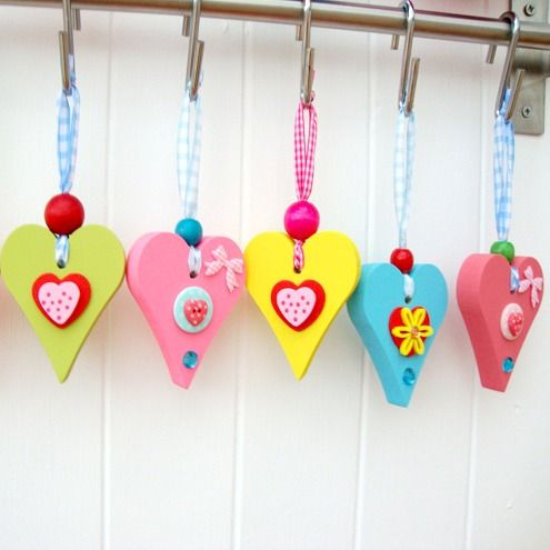 Small wooden, chunky heart ornaments.