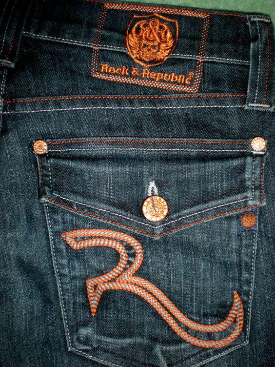 Rock & Republic Jeans (Taylow Low Rise Button Fly Bootcut, Orange ...