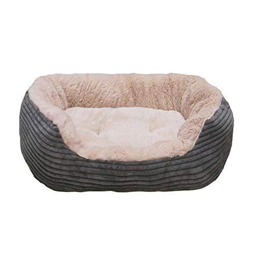 40 Winks Oval Sleepers Grey Jumbo Cord Plush 20 Ped Bed Plush Dog Bed Medium Dog Bed Bolster Cushions