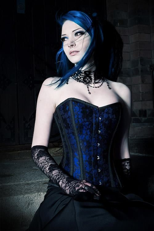 A very nice blue and black Gothic corset dress. https://www ...