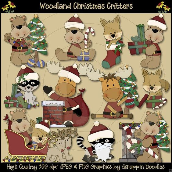 Woodland Christmas Critters Clip Art Download - $3.50 : Scrappin ...