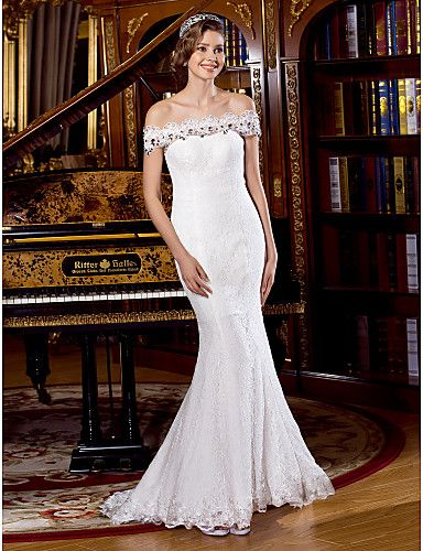 Trumpet/Mermaid Wedding Dress Sweep/Brush Train Off-the-shoulder Lace – USD $ 113.99