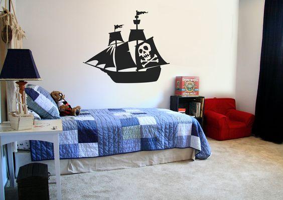 Gaaf piratenschip voor boven je bed of in de speelkamer! Een wens van iedere piraat!