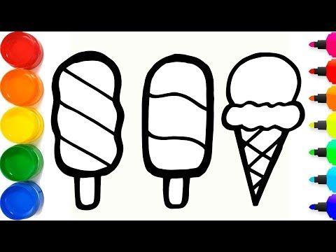 Glitter Rainbow Ice Cream Coloring And Drawing For Kids Cara Menggambar Dan Mewarnai Es Krim Youtube Es Krim Cara Menggambar Gambar