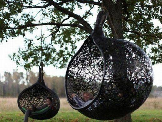 Manu Nest, a hanging chair formed using volcanic rocks