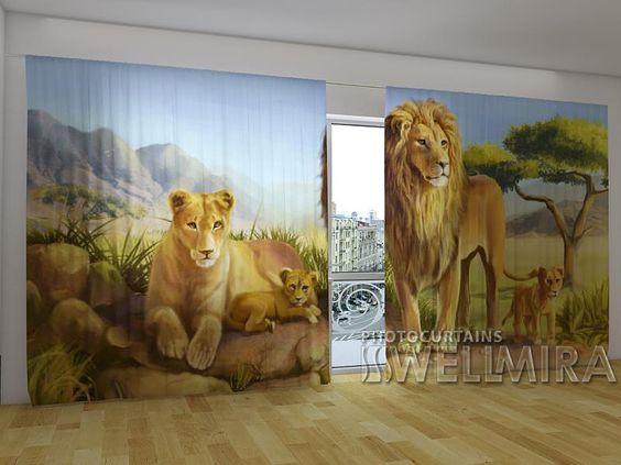Lion's Family #Wellmira #ModernCurtains #PhotoCurtains #PanoramicCurtains #Foto Vorhänge #Foto cortinas