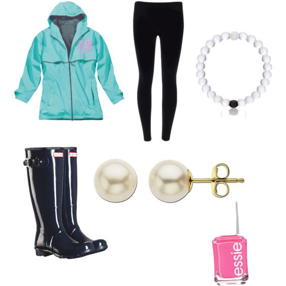 Rainy day prep by lillypulitzera on Polyvore featuring polyvore, fashion, style, Hunter, Lord & Taylor, Everest and Essie