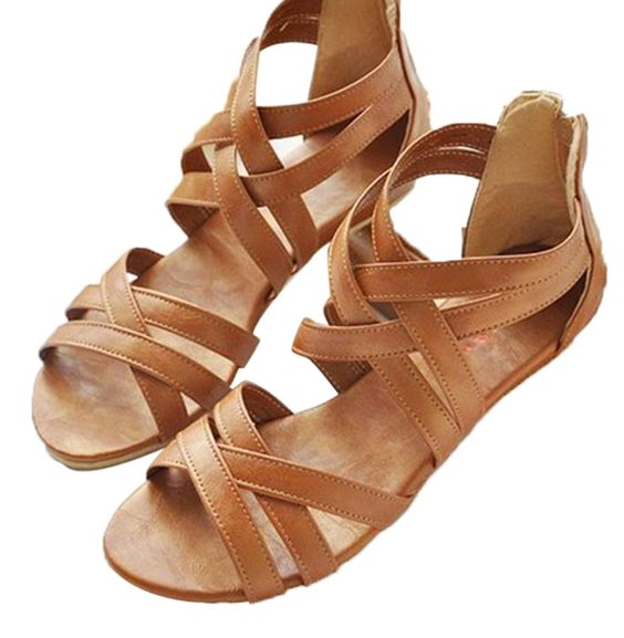 Awesome Flat Sandals Women Aged Leather Flat With Mixed Colors Fashion Sandals