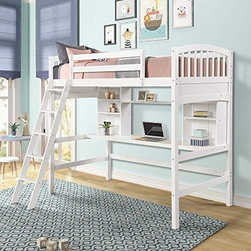 Enjoy Exclusive For Meritline Wood Loft Bed Desk Twin Size Study Loft Bed Frame Angled Ladder Environmental Natural Finish Kids Teens Online Fortrendyto In 2020 Loft Bed Frame Loft Bed