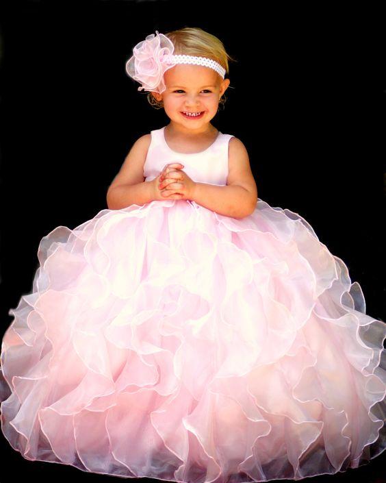 Pale pink satin- organza flower girl dress- cascading vertical ...