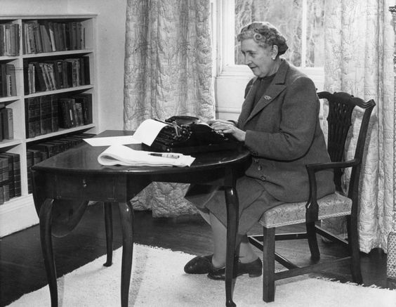 Agatha Christie at the typewriter