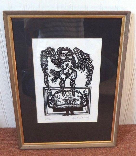 VINTAGE SIGNED CYRIL SATORSKY #88/100 'A PRIDE OF RABBIS' NUDE DEVIL LINOCUT!!!