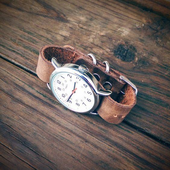 Lederen armbanden. 18 / 20mm Weekender door MonolithLeatherGoods