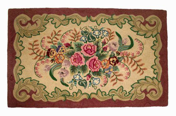Antique Hooked Rug Pink Rose Center Medallion Pearl Mcgown Design Entire View Hooking Fls Fruit Pinterest Folk Art And Needlework