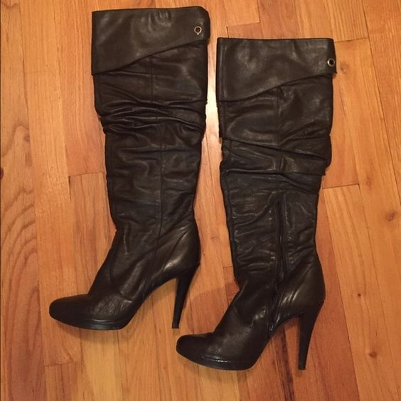 Jessica Simpson Leather Boots Very comfortable leather high heel boots. Easy to walk in. Wore these numerous times but these still have life to them! See pics for imperfections. Just replaced the heel pad. Jessica Simpson Shoes Heeled Boots