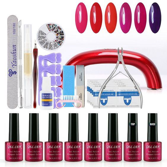 Gellen Shiny 6Pcs UV Gel Nail Polish With UV LED Lamp Top and Base Coats   Nail Art Tools Of 31Pcs Kit -007 -- To view further for this item, visit the image link.