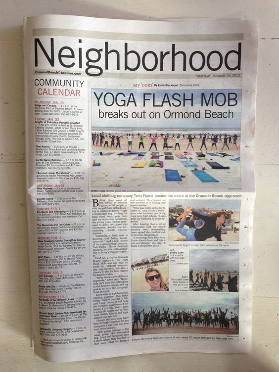 Yoga Flash Mob on Ormond Beach, FL in the Ormond Observer! Hosted by Yoga Apparel Company | Twin Flame