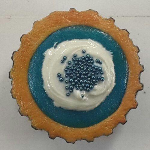 Polymer Clay Blueberry & Vanilla Bottle Cap Pie Magnet