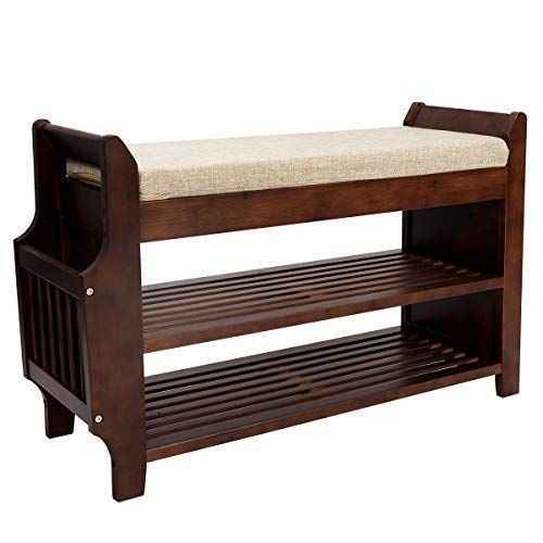 Bocca Shoe Rack Bench Bamboo Removable Cushion Storage Shelf 2 Tier Entryway Shoe Storage Organizer With Drawer An Shoe Rack Bench Shoe Rack Entryway Storage