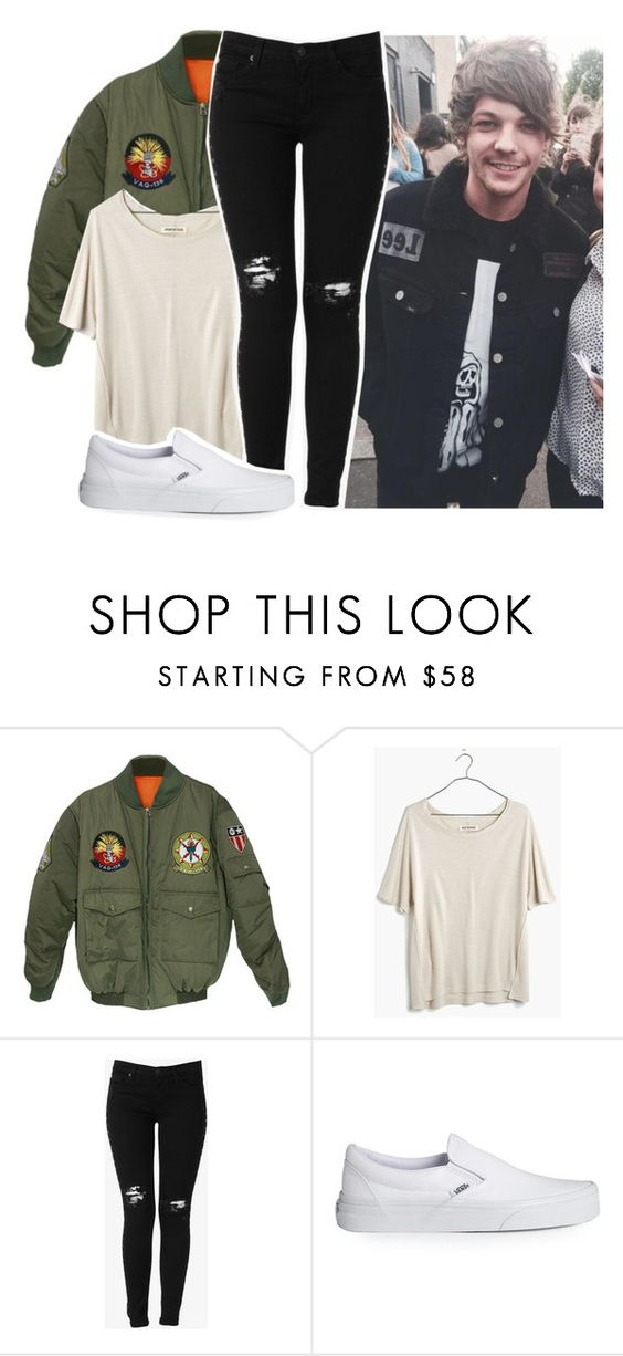 """""""Out with Louis"""" by vindra-rampersad ❤ liked on Polyvore featuring Madewell, Hudson Jeans and Vans"""