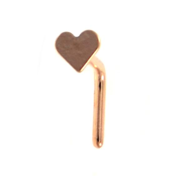 BodyDazz.com - Rose Gold Plated Heart Top L Shaped Nose Ring 20G  (http://www.bodydazz.com/rose-gold-plated-heart-top-l-shaped-nose-ring-20g/)