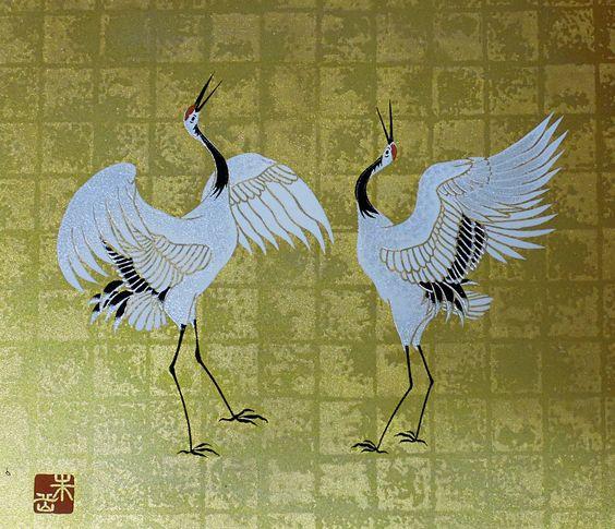 Red-crowned Cranes: