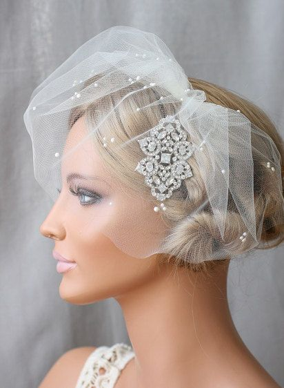 Pearl Embellished Veils, Tulle, Bridal Veil, Mini Veil, Birdcage Veils, - SECRET GARDEN VEIL Style 0034. $118.00, via Etsy.