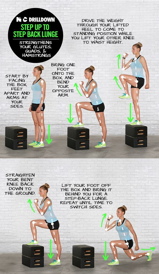 Work your glutes quads and hamstrings with step up to