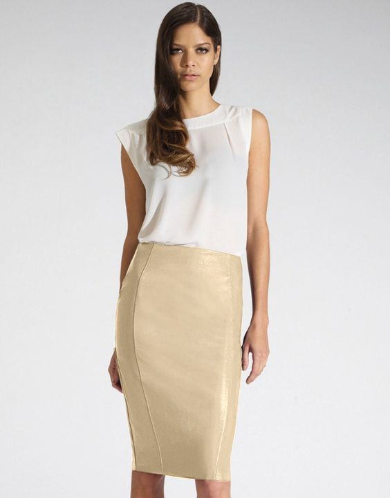 White Faux Leather Pencil Skirt