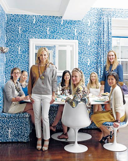 Curtains Ideas curtains matching wallpaper : Tory Burch at home: Pattern matching curtains and wallpaper | Home ...