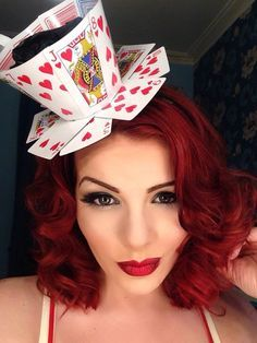 How to make a Queen of Hearts teacup fascinator from playing cards. Queen of Hearts Halloween Costume Ideas: