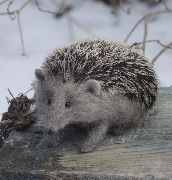 Love, love, LOVE this felted hedgehog by Natasha Fadeeva!:
