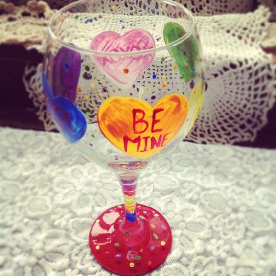 Conversation Heart Glass by MaidenLongIsland on Etsy, $15.00