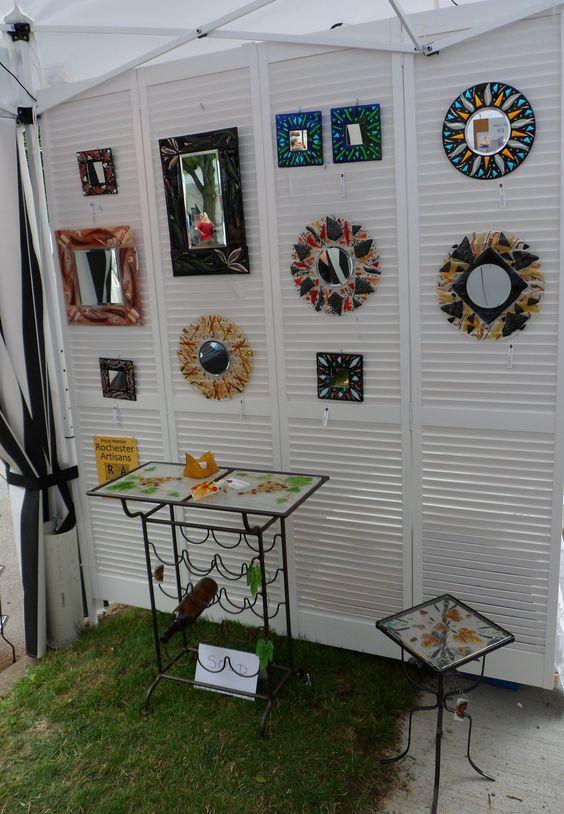 Corn Hill Art Festival 2013 - fused glass mirror booth wall by Marusca Gatto Glassworks