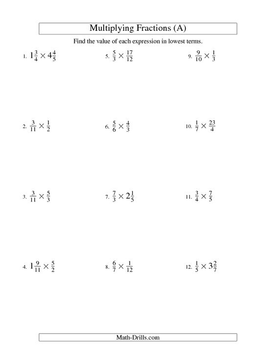 Fractions Worksheet -- Multiplying and Simplifying ...